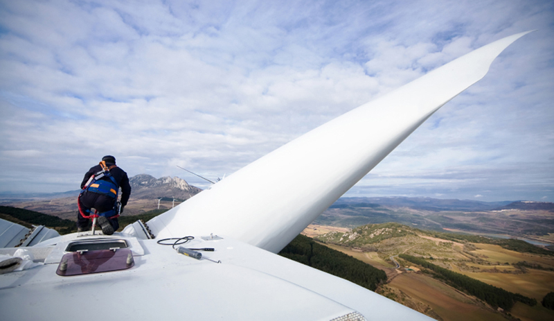 Working on top of a wind turbine